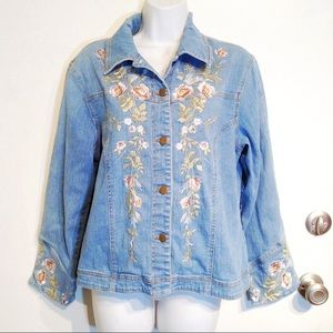 VTG 90s Floral Embroidered Denim Jean Jacket